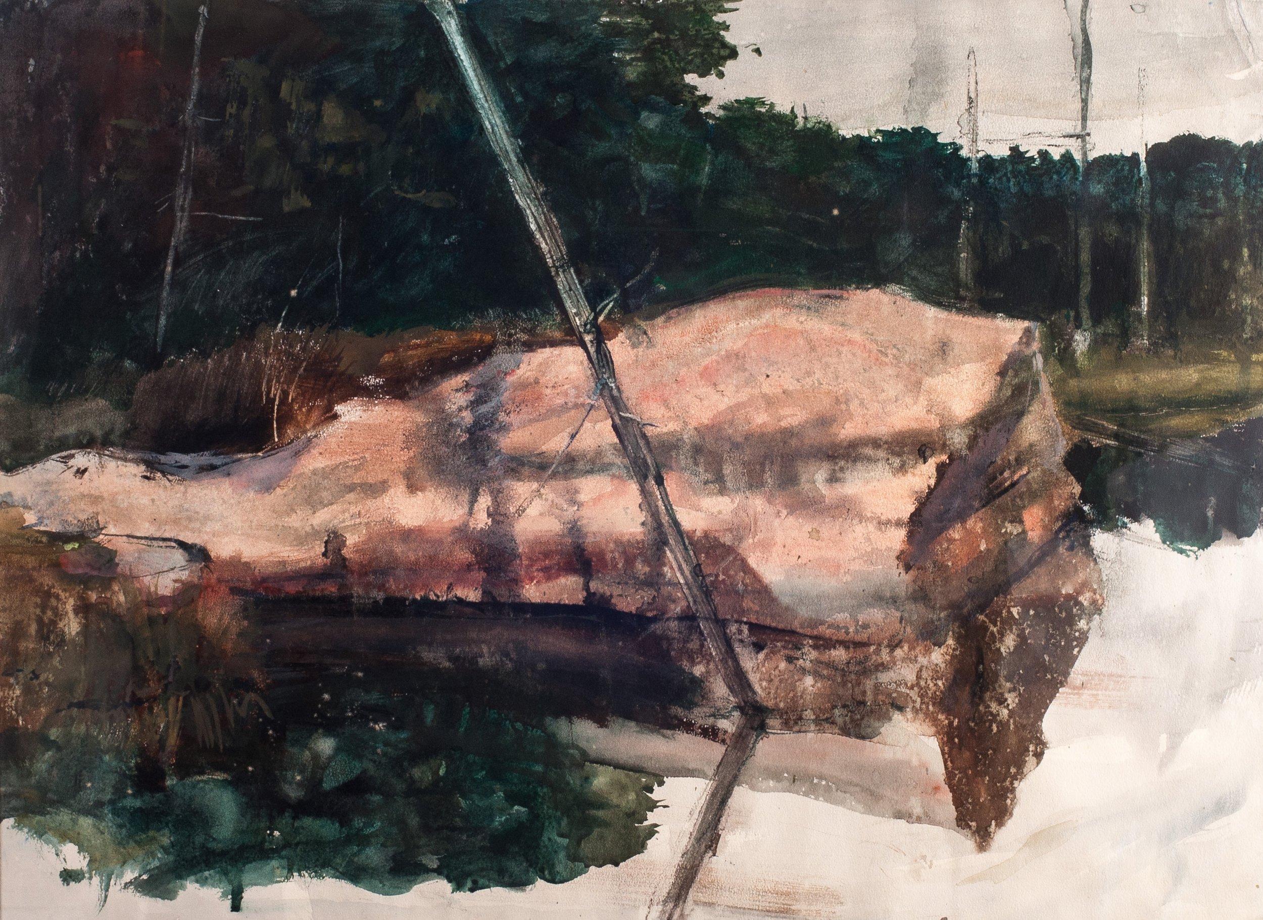 Pink Granite.     1968, watercolor. 20.8 x 28.1 inches.