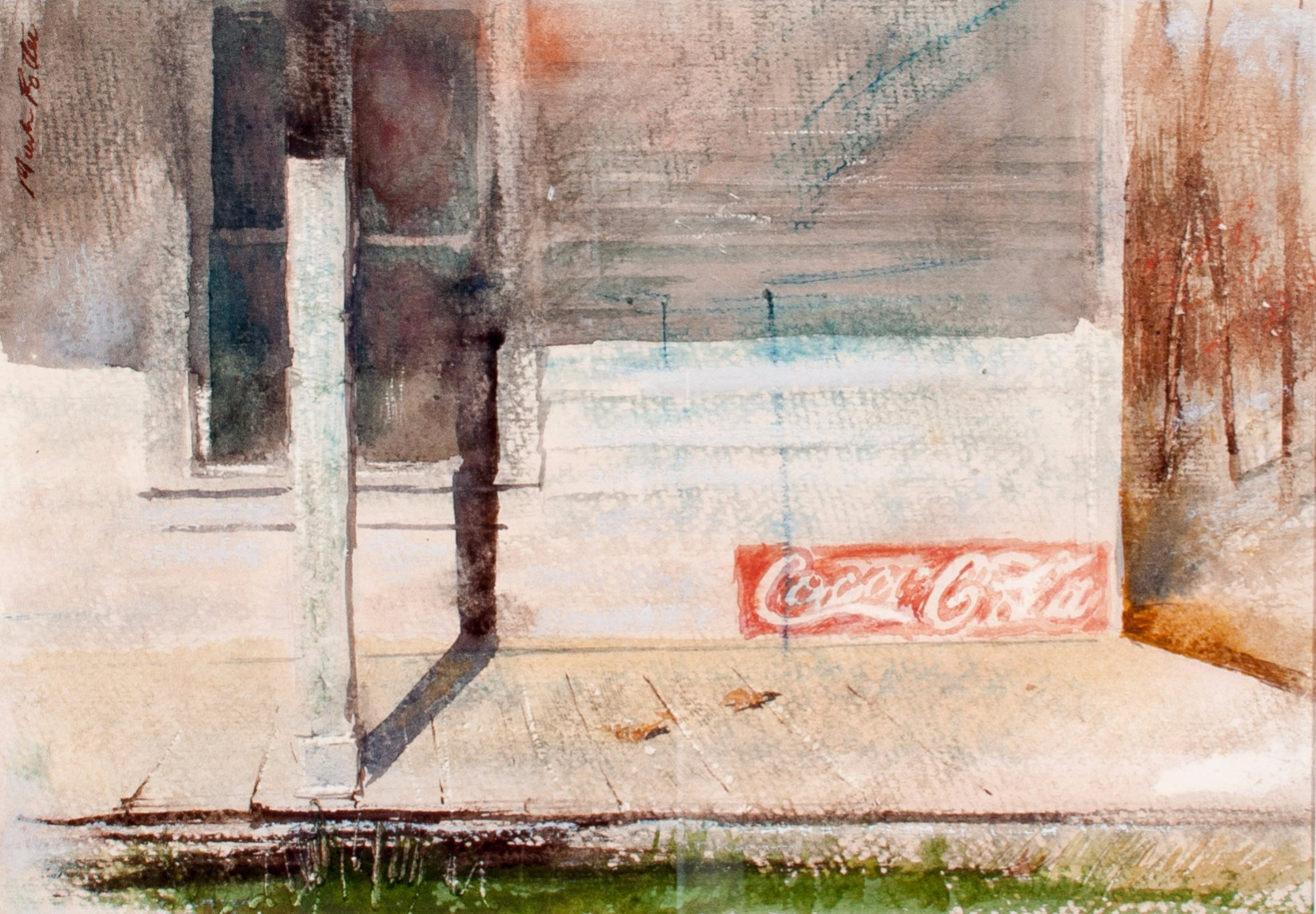 Study: Station Store Porch.    1975,  watercolor,  7.9 x 11.2 inches.