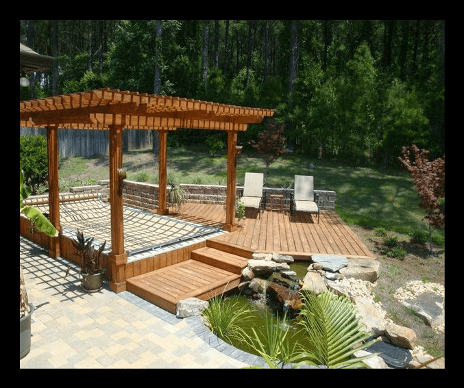 Pergola and pond landscaping