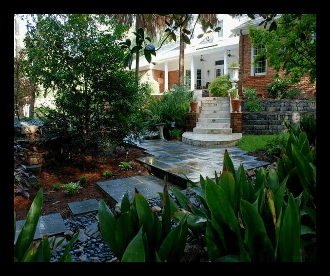 Paver patio in front yard
