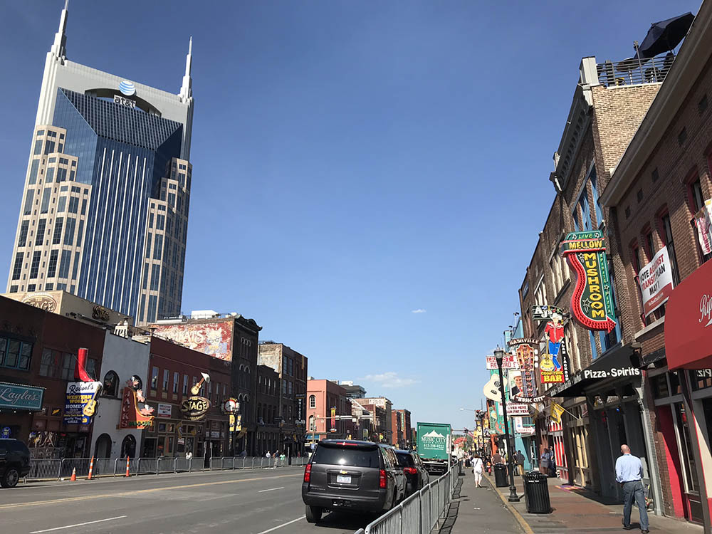 Broadway in Nashville on a gorgeous sunny day