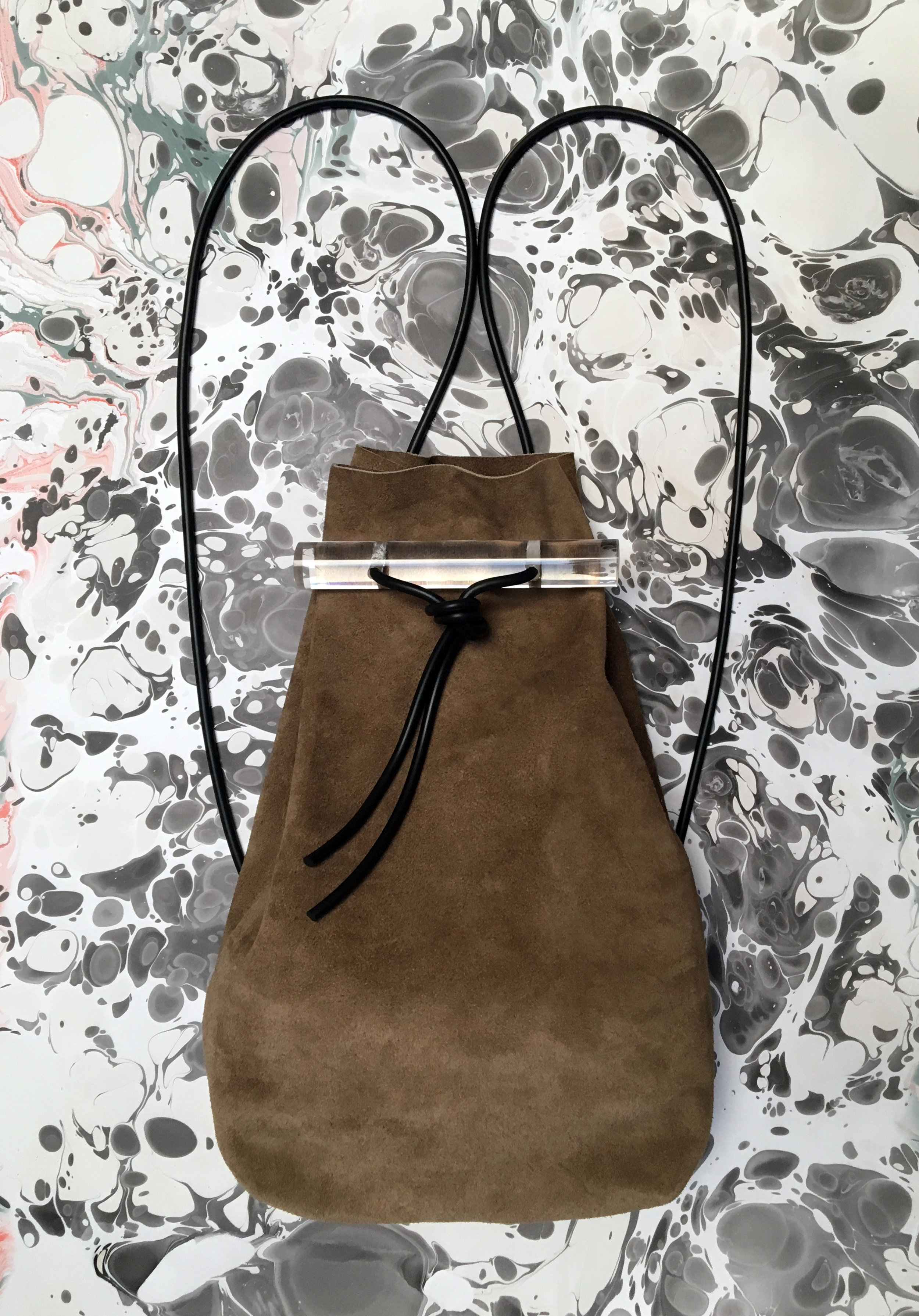suede lucite backpack women