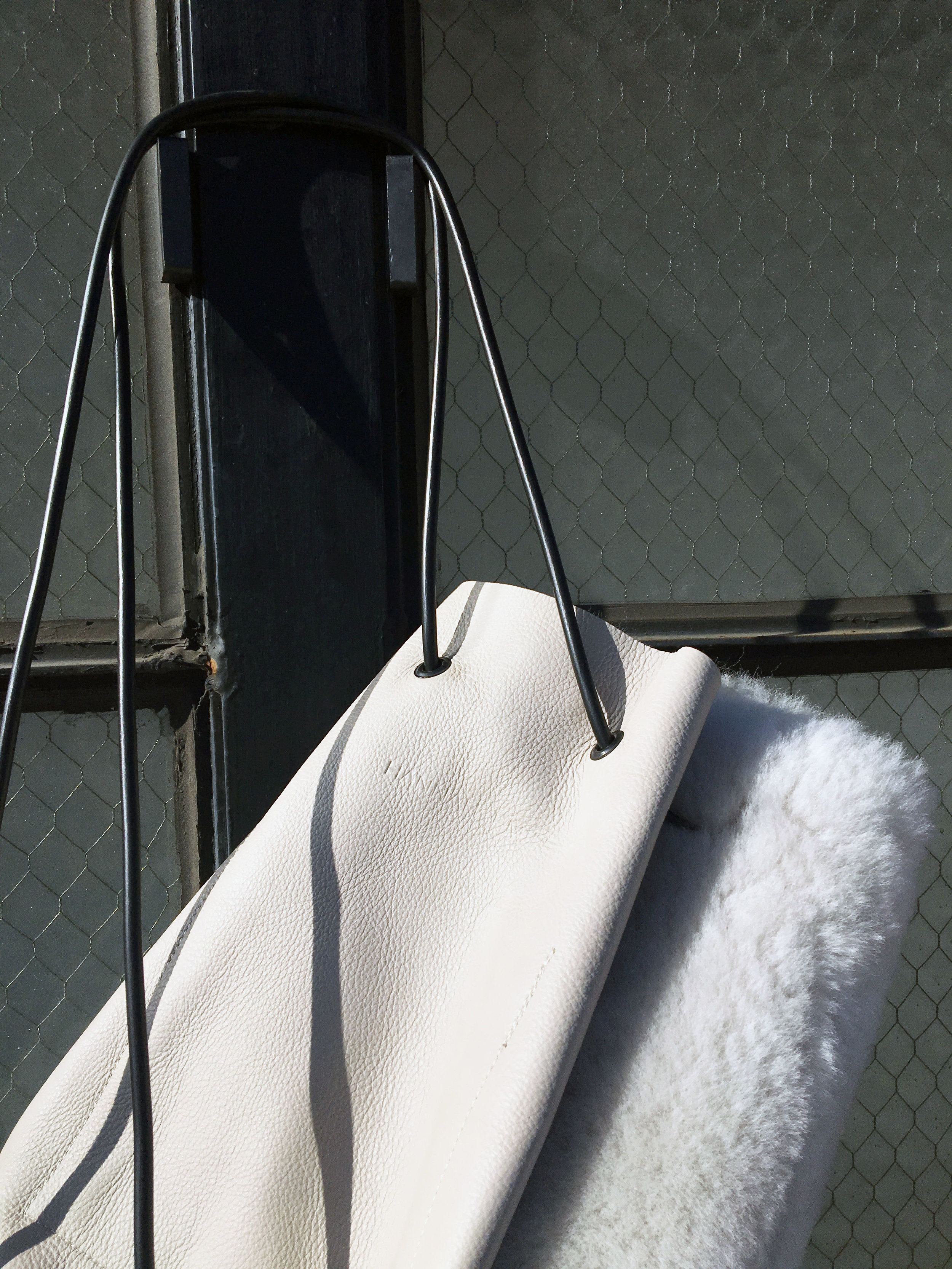 soft leather white shearling bag