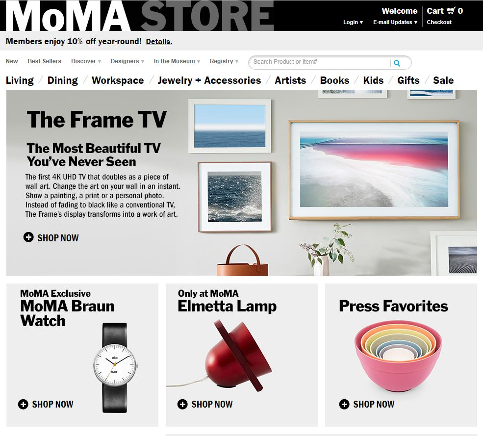 The 7-piece pastel nesting bowl set occupies valuable real estate on the MoMa store.