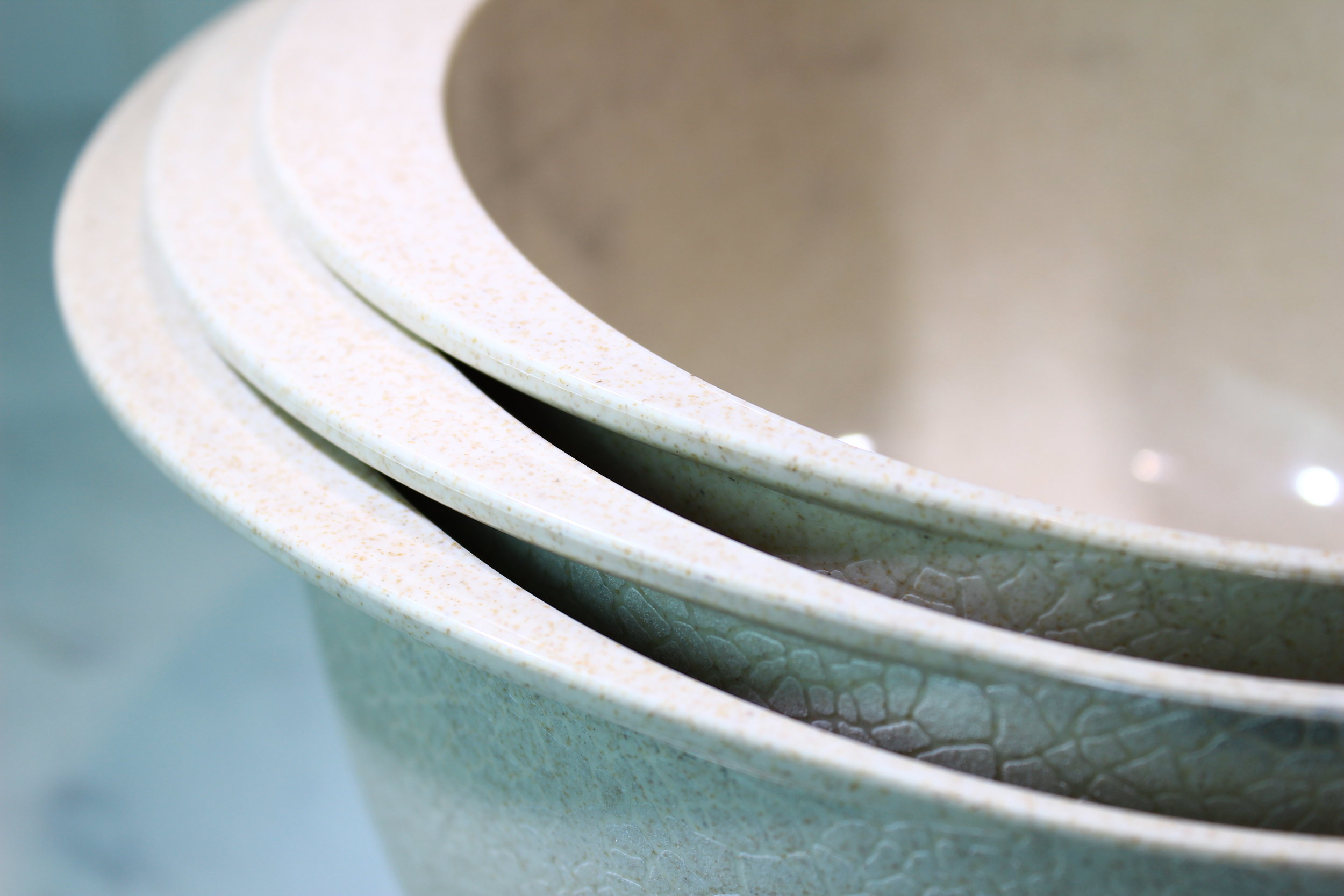 The new generation of Bamboozle kitchenware allows for unique design capabilities such as textured grips on the outside of the bowls, while keeping the inside smooth.