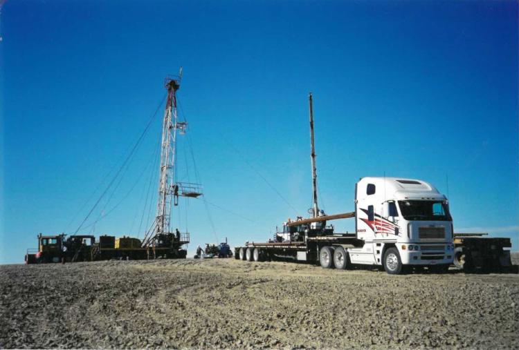 Oilfield step deck work, circa 2001.