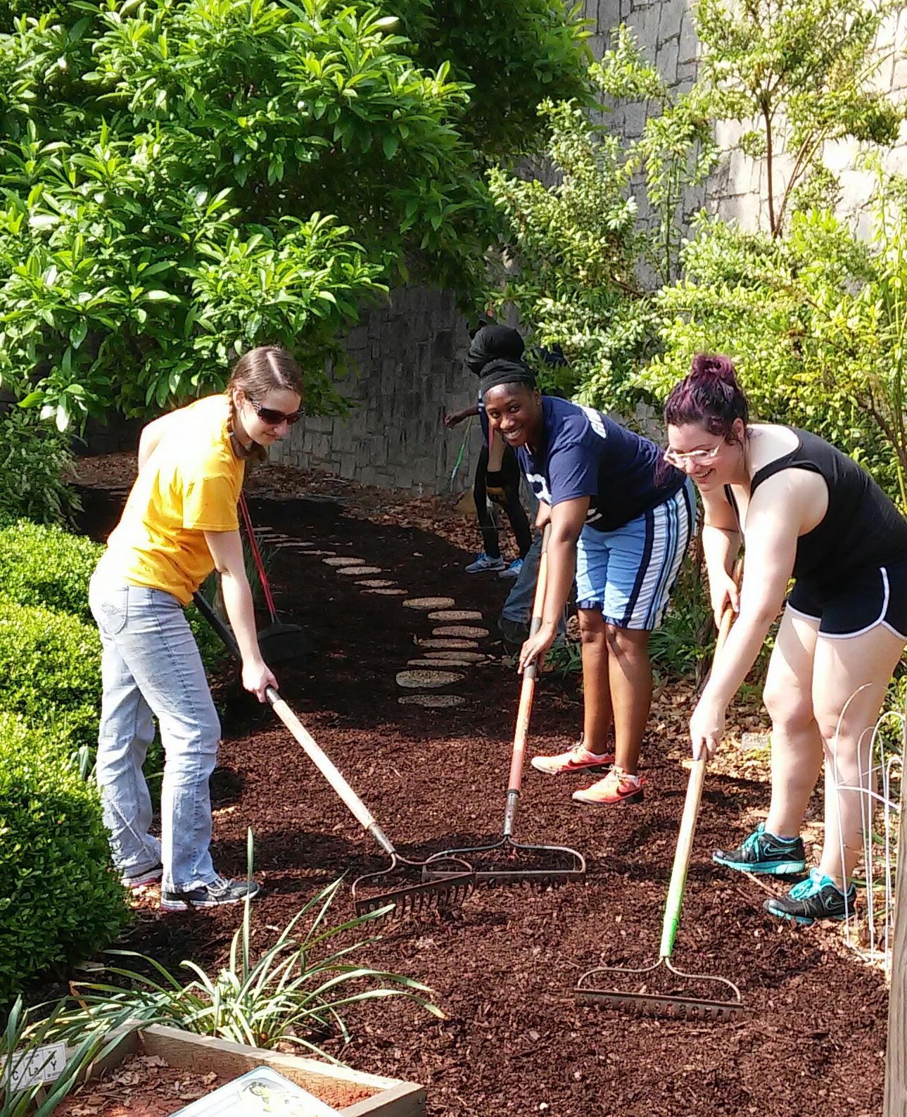 Becca Giuntoli (BCDB), Lisa Mills (IMP), and  Stephanie Zimmer (BCDB) spread a new layer of mulch along the garden path at Fernbank Science Center.