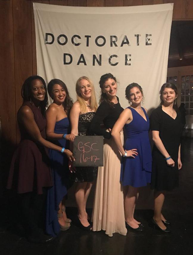 Left to Right Crystal Grant (President), Christine Doronio (Ticket Czar), Ashley Parcells (VP), Sarah Lauinger (Travel Treasurer), Rachel, Elizabeth Minten (Secretary).