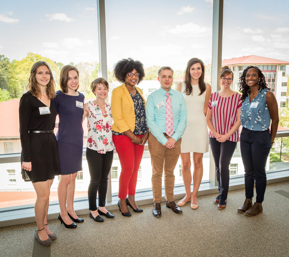 EScAN hosted three alumni in a panel event. From left to right: VP of Outreach Erin King, VP of Finance Erics Landis, VP of Current Affairs Rachel Pearcy, Debra Cooper, Chuck Wright, Chelsey Chandler Ruppersburg, VP of Communications Alyssa Scott, and President Crystal Grant.