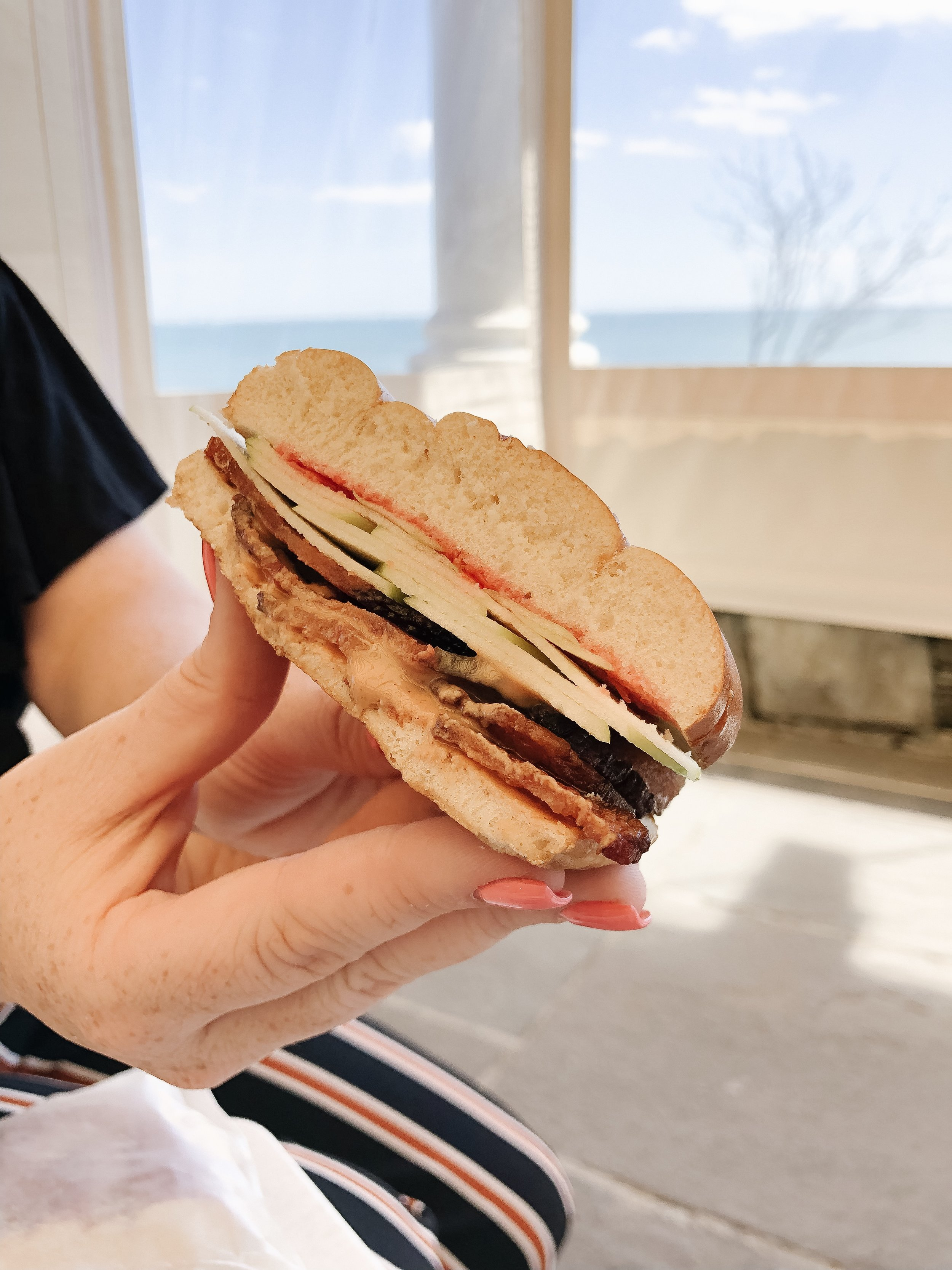 The Heavyweight - pretzel roll, crunchy peanut butter, bacon, cherry jam, and sliced apples