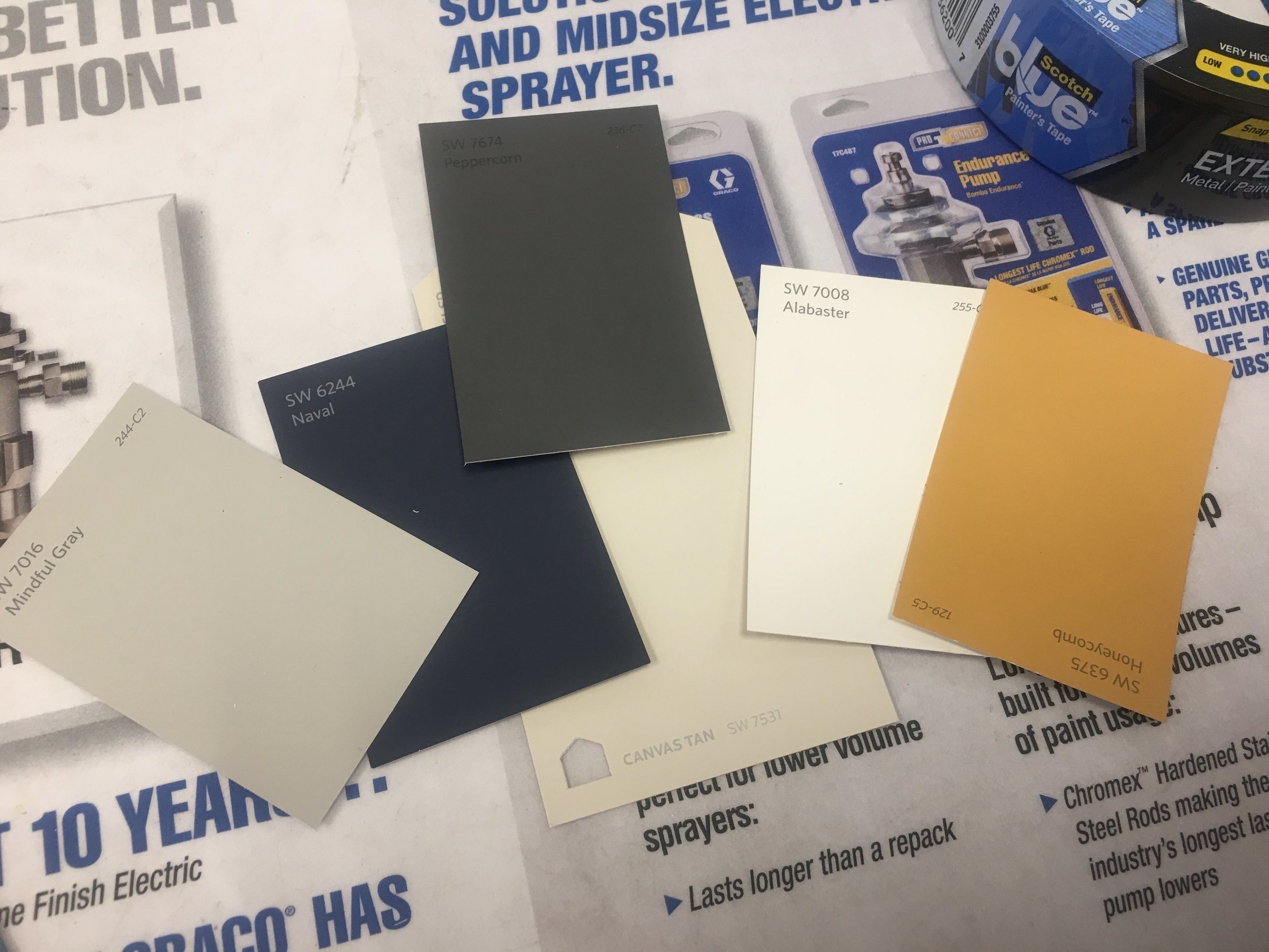 All Sherwin Williams paint colors - Mindful Gray, Naval, Peppercorn, Alabaster & Honeycomb.
