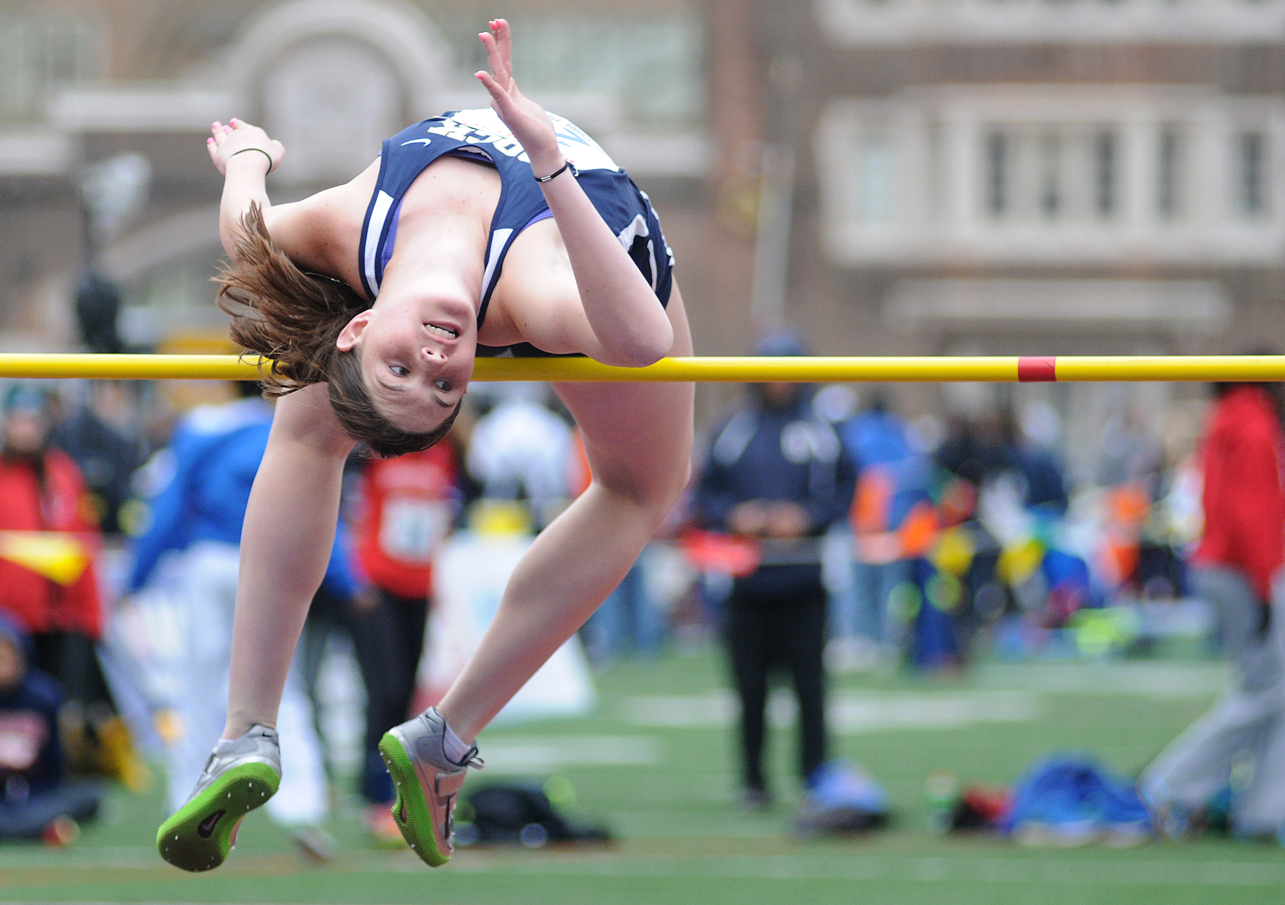 Council Rock South's Shannon Taub participates in the high jump championship during the opening day of the Penn Relays on Thursday, April 23, 2015 at the University of Pennsylvania's Franklin Field in Philadelphia.