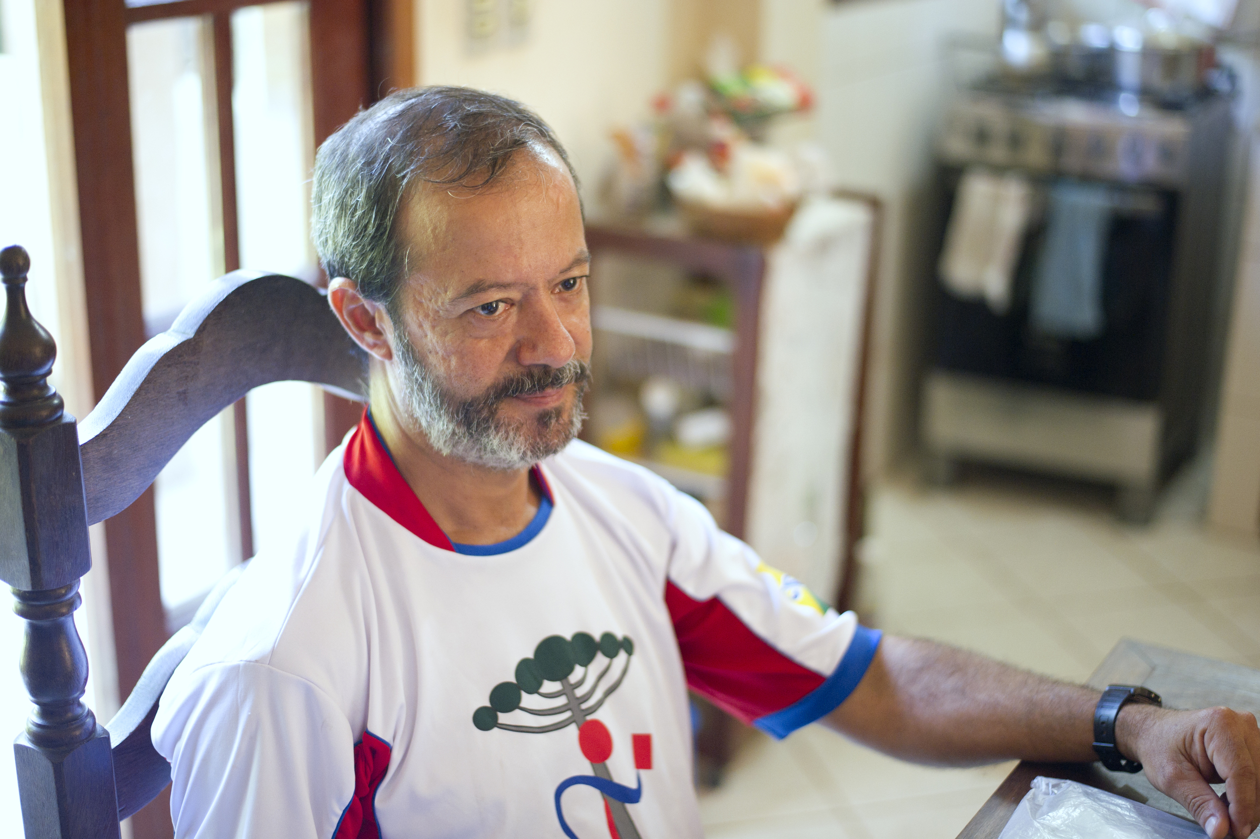 Brito's husband Elias Serafim discusses his feelings about the threat of eviction for a proposed Olympic roadway in his home in Vila Autodromo in Rio de Janeiro, Brazil.