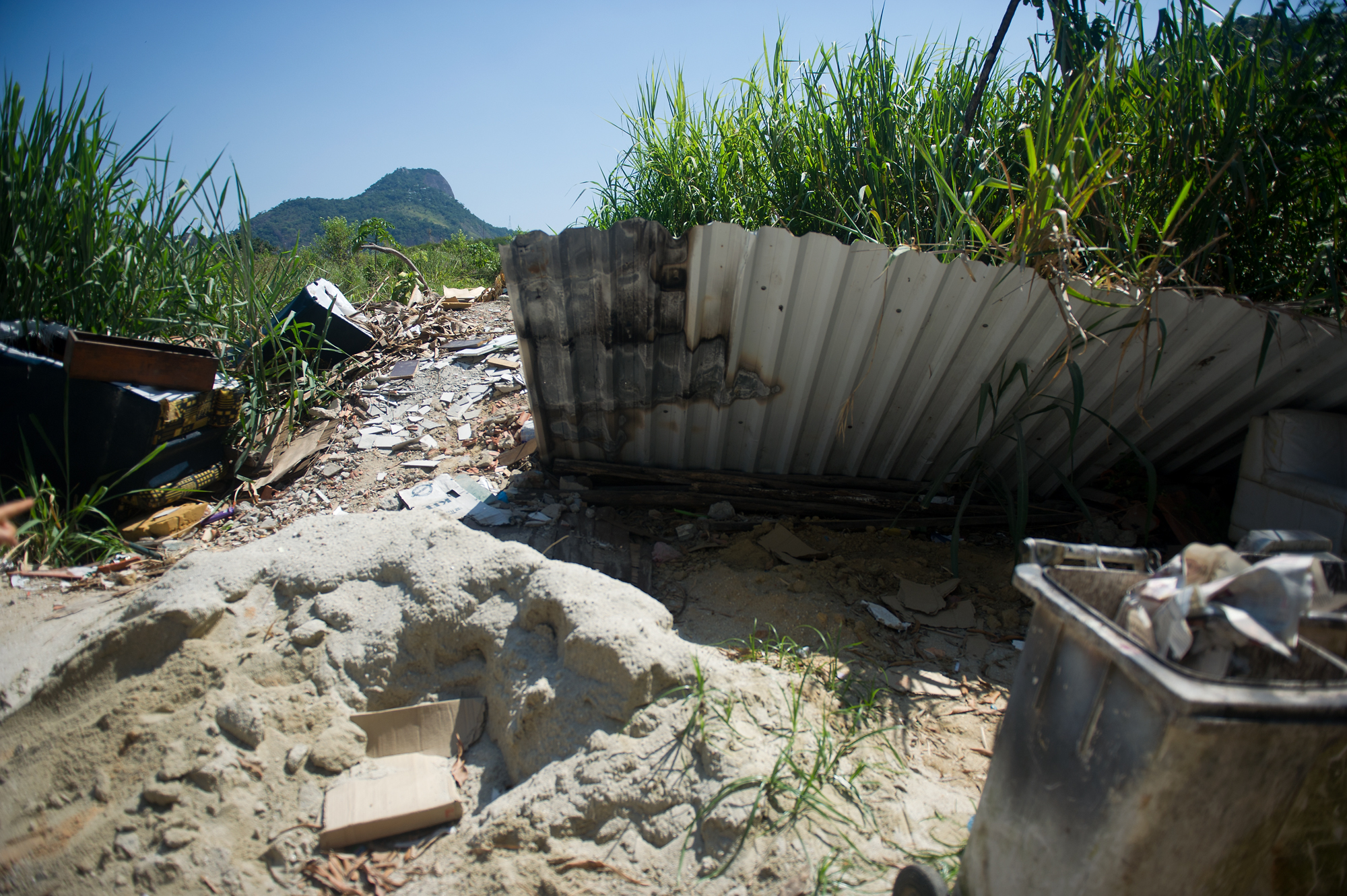 The entrance to the planned relocation area of Vila Autodromo, which has been deemed a high-risk area for mudslides.