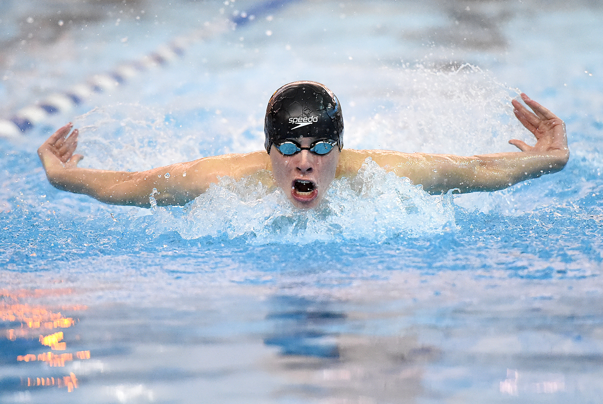 Council Rock South's Andrew Ridings swims the 100-yard butterfly during their swim meet at Council Rock North in Newtown Township on Friday, February 3, 2017.