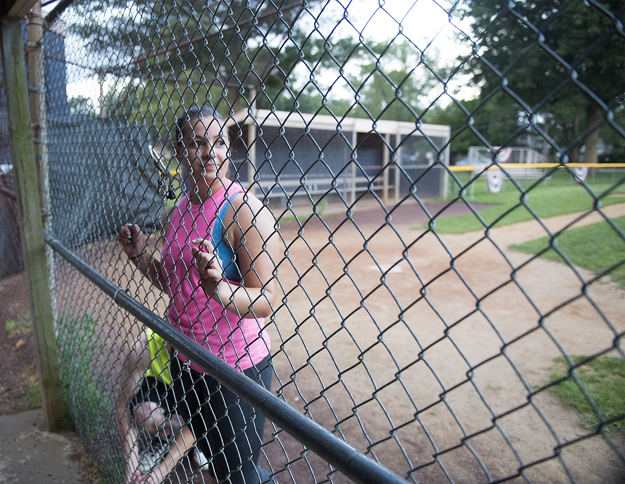Dee Hubay waits her turn while playing kickball with family friends on Tuesday, July 21, 2015 at Williamson Park in Morrisville while Bryan was on break from his MOS job training school.