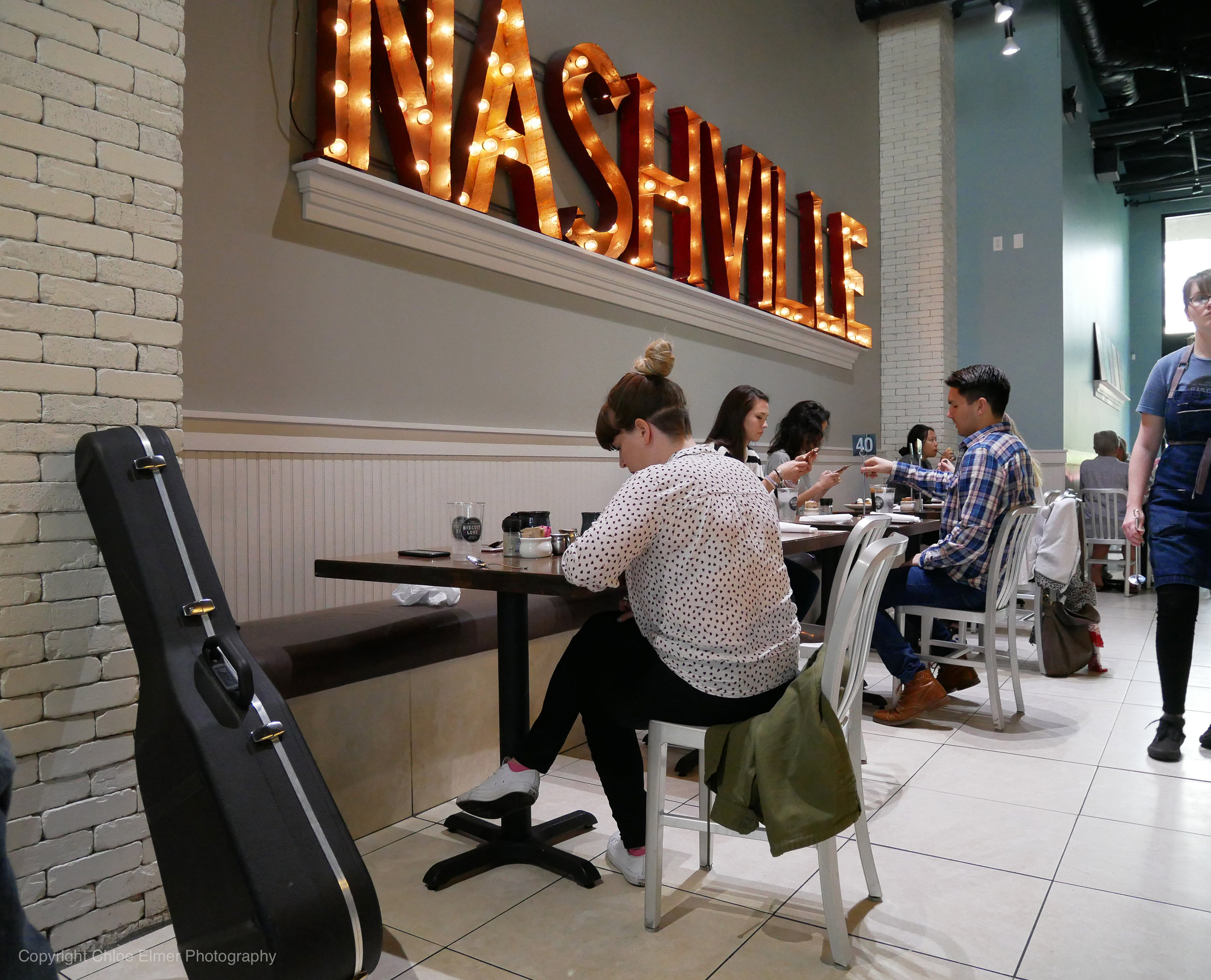 I'm convinced that every bar or restaurant in Nashville is required to have a lit sign announcing that you're in Nashville. Below you'll find some neighorhood sights.