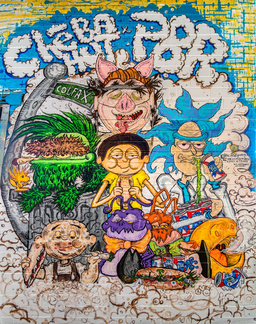 Vincent Gordon mural sponsored by PBR at Cheba Hut (638 East Colfax Ave, Denver CO)
