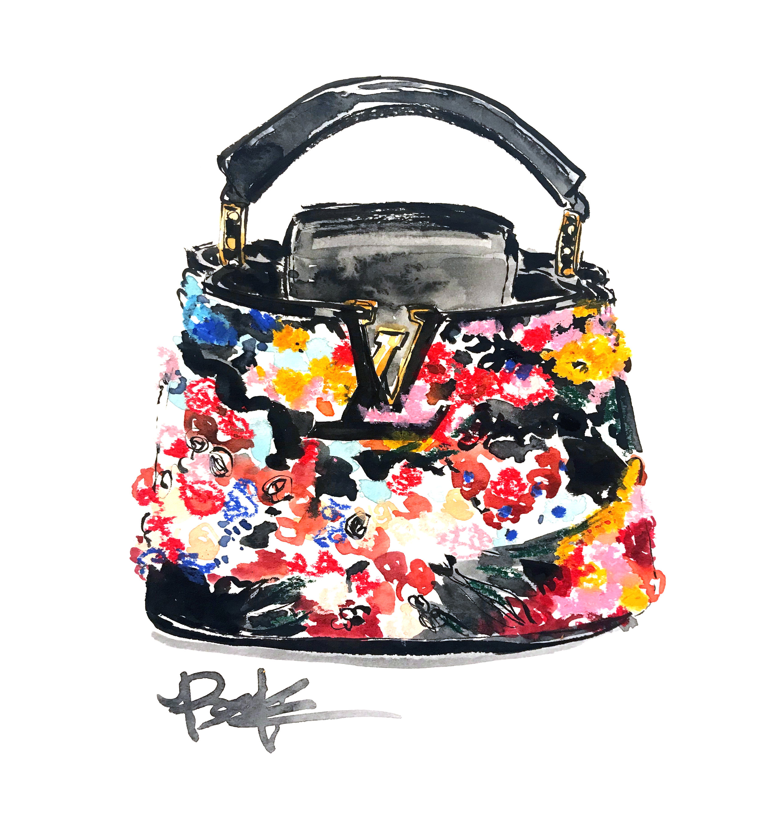 Louis Vuitton Capucines Mini Bouquet in mixed media.