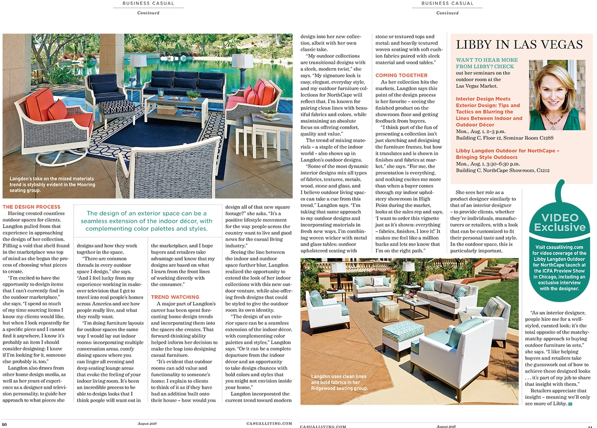 """""""The design of an exterior space can be a seamless extension of the indoor decor, with complementing color palettes and styles."""" Libby Langdon"""