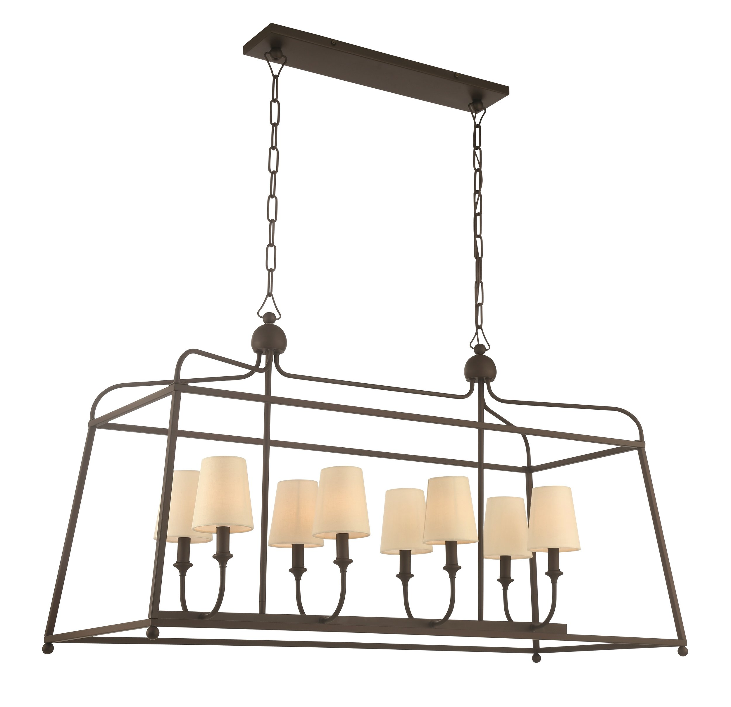 "Product Name:  Crystorama Sylvan 6 Light Dark Bronze Chandelier  Dimensions:  w18 x h25 x d42 (in)  Total Number Lights:  6  External Lights:  6  Total Wattage:  360  Bulb Type:  Candelabra  Material:  Steel  Finish:  Dark Bronze  Canopy Size:  4.5"" x 21.25"" x 4.5"" (in)  Chain Length:  72""/120""  Item Weight:  10  Package Weight:  13  Shade Size:  3"" x 4"" x 4.5"" (in) Empire"