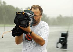 StormStock's Martin Lisius filming Hurricane Katrina
