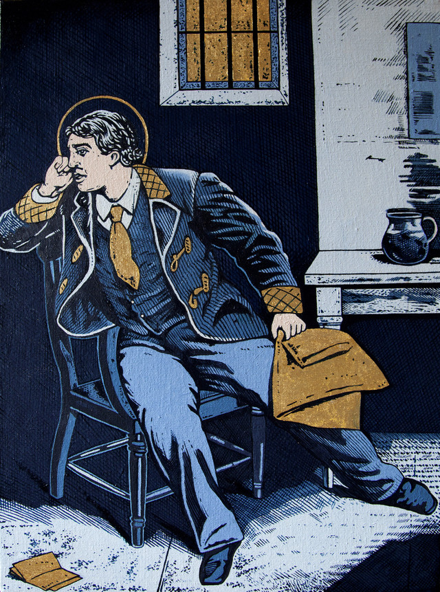 McDermott & McGough, Oscar Wilde in Prison (Detail), 1895 (MMXVII), Oil and Gold Lead on Linen, Courtesy of the Artists