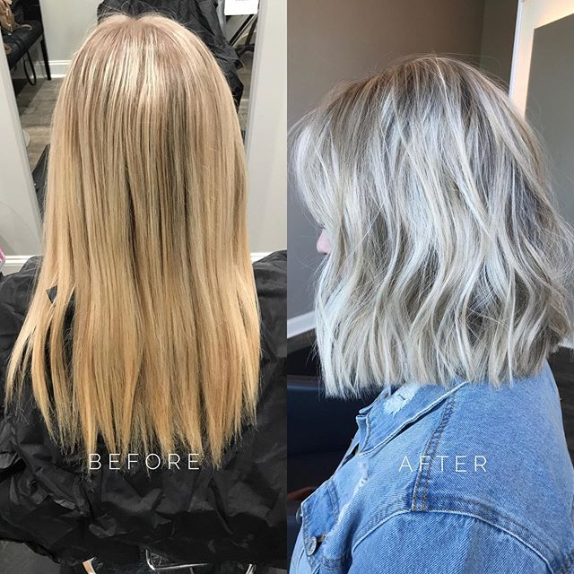 #TuesdayTransformation: one-dimensional blonde to #icyblonde bob! ❄️ This look is so fun & flattering. Hair by our stylist, Haley! #aristagirl #aristahairsolutions #kchairstylist #icyblonde #kchairsalon #leawood #kcstylist