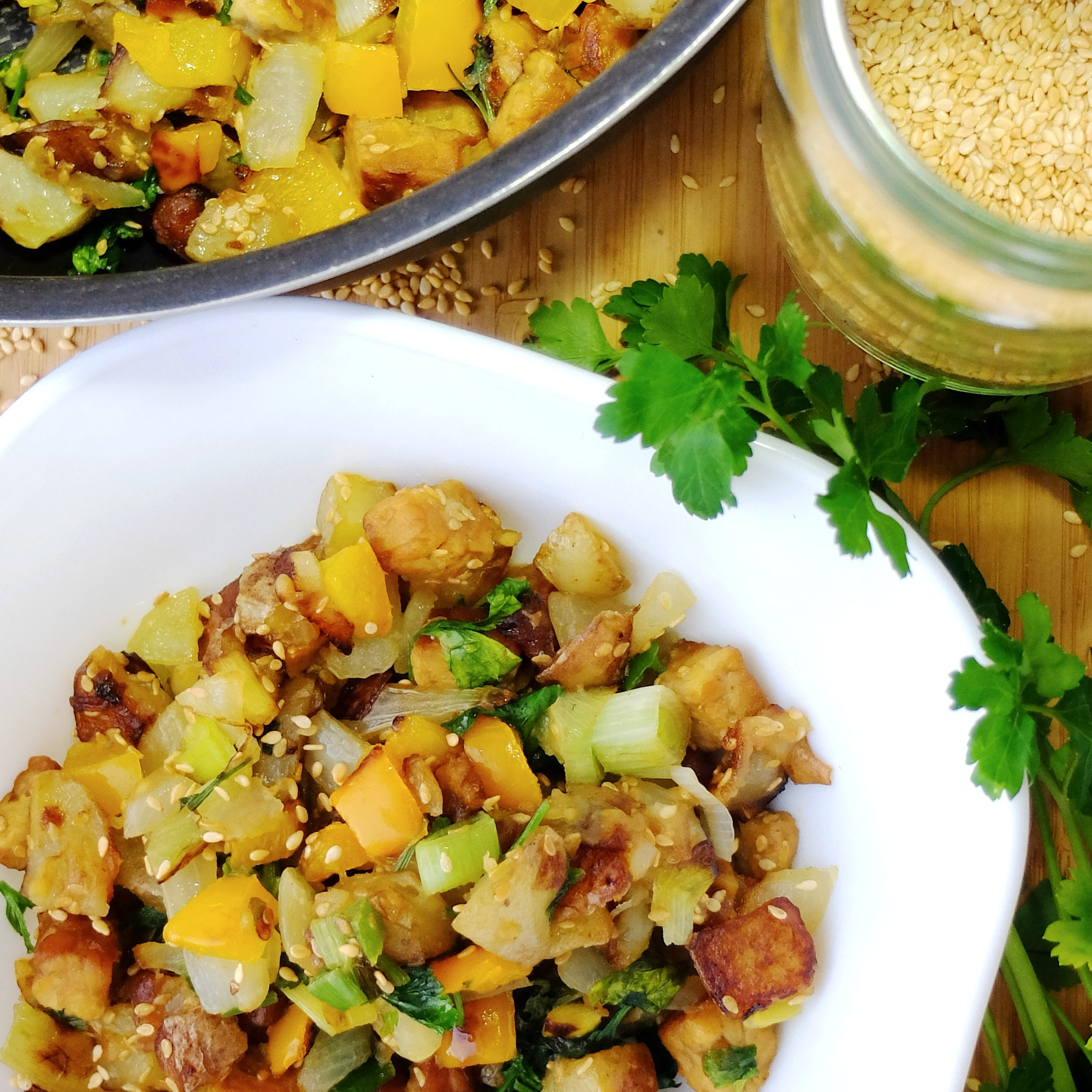 Fried Tempeh Hash - Brunch perfection