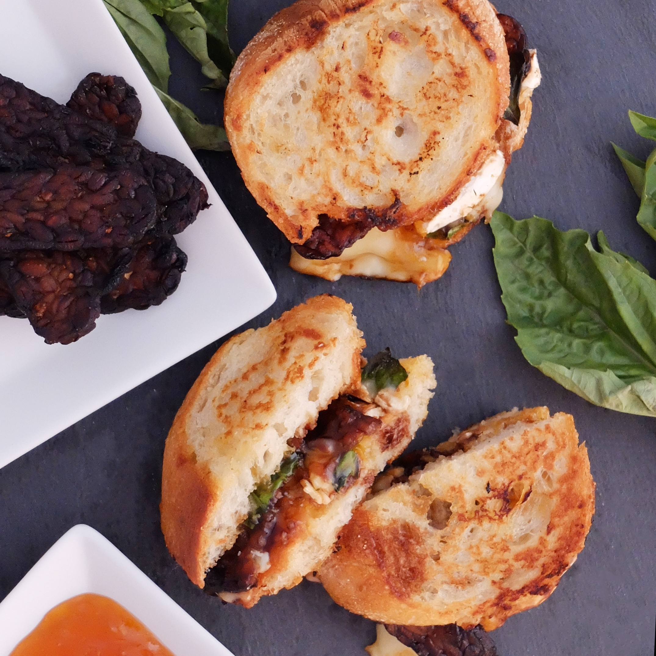 Grilled Cheese with Tempeh Bacon - with Brie, Balsamic, and Apricot