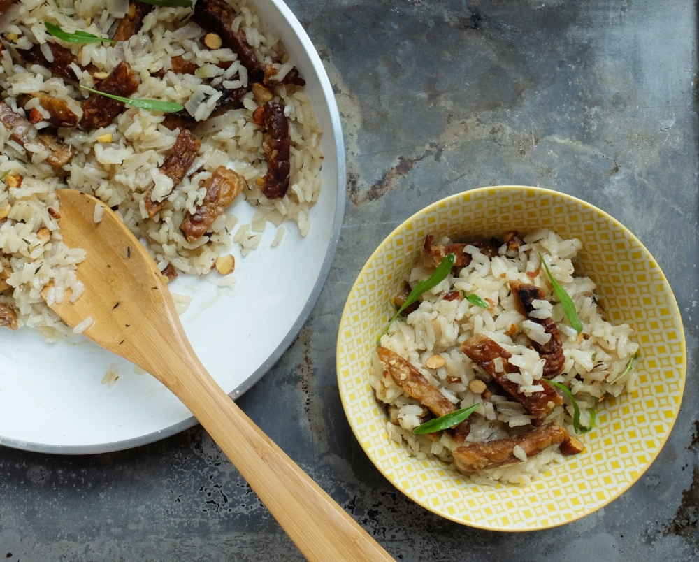 Tempeh Risotto - with Salted Almonds & Microgreens