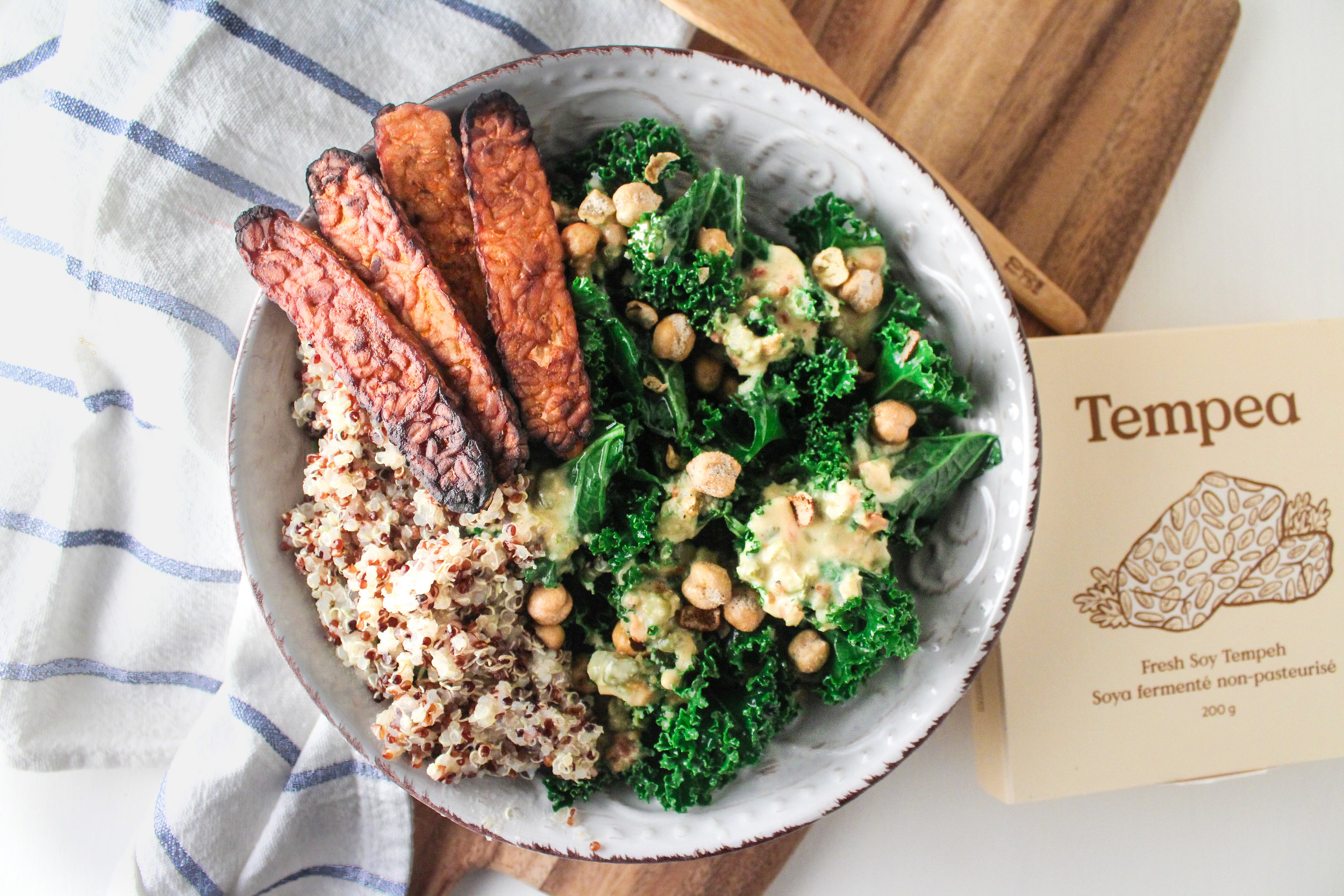 Spicy Tempeh Kale Salad -