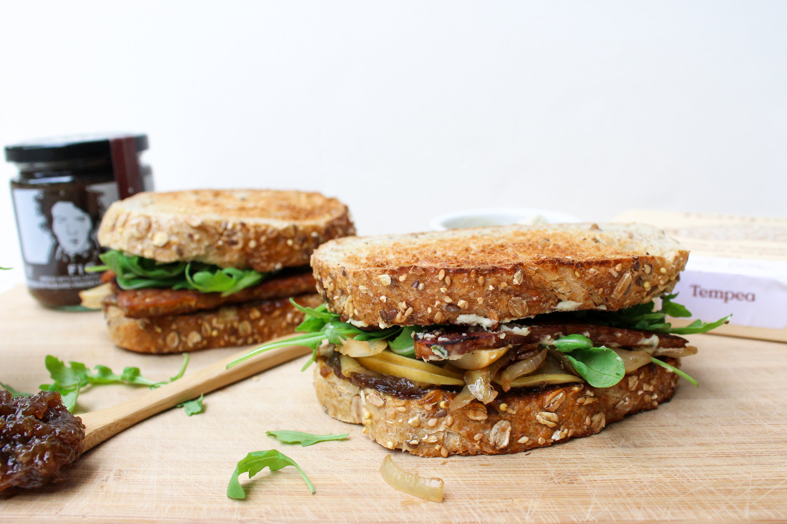 Maple Tempeh and Fig Jam Sandwiches -