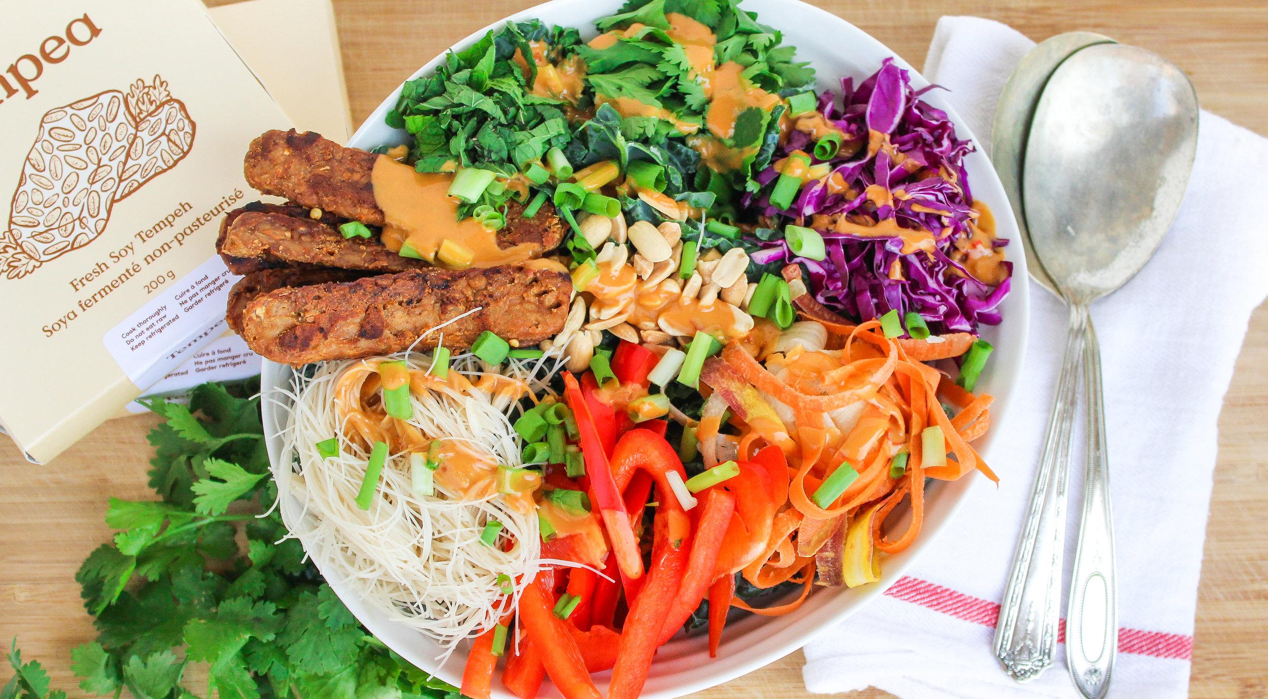 Peanut Tempeh Kale Salad -