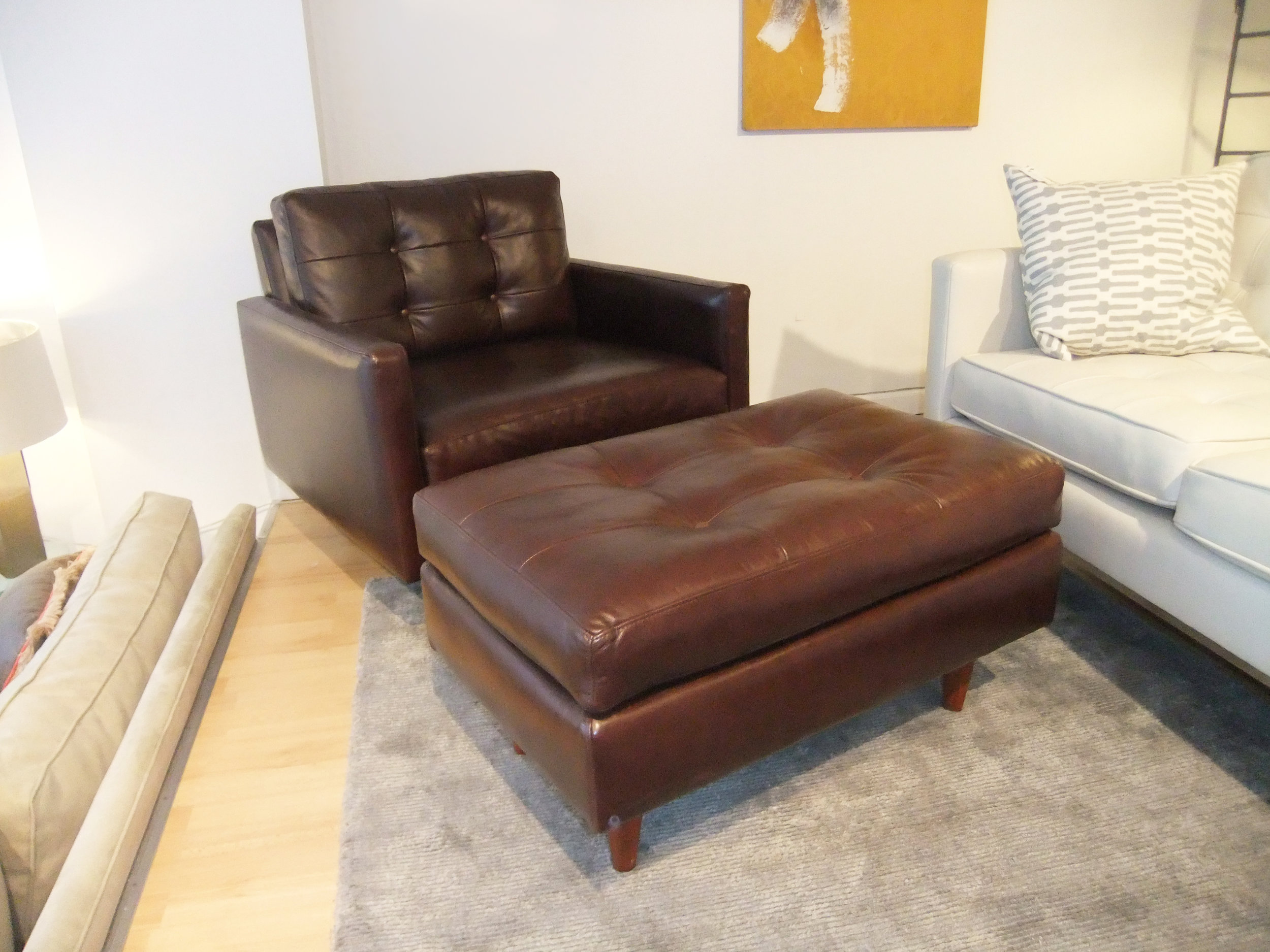 The Holland Chair + Ottoman | Leather