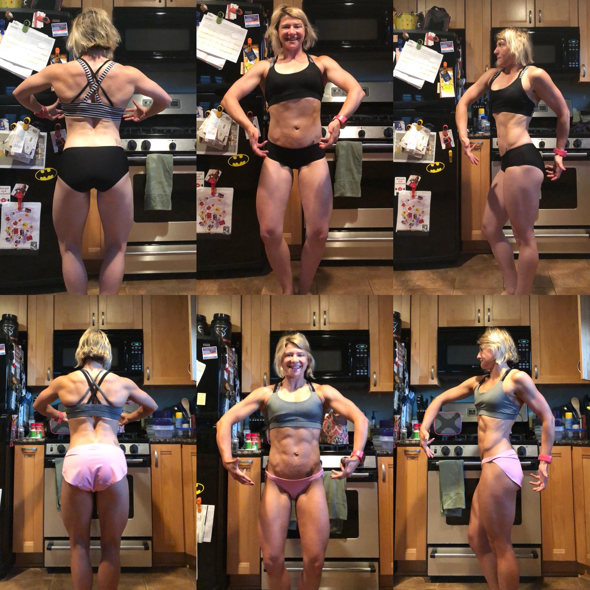 Top photos: 6/16/2018 120.5 pounds  Bottom photos: 5/23/2018 117.0 pounds
