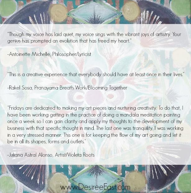 testimonials mandala painting meditations online art class with transformational creativity coach desiree east