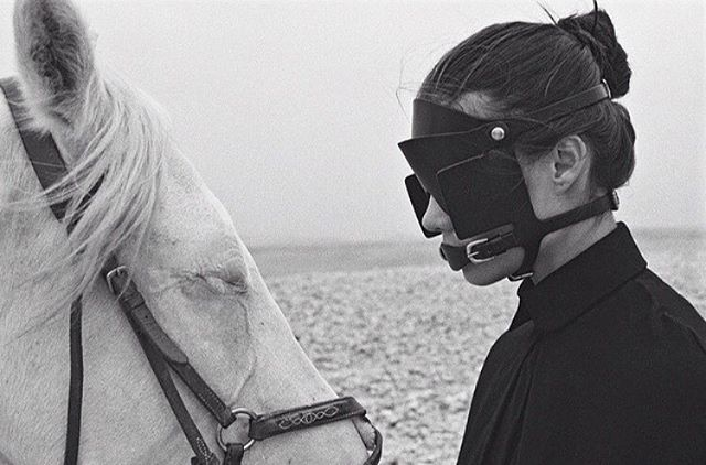 Perspective. #arnobouchard #fleetilya #horse #human #woman #blinders #animal #art #artist #editorial #design #beauty #love #perspective