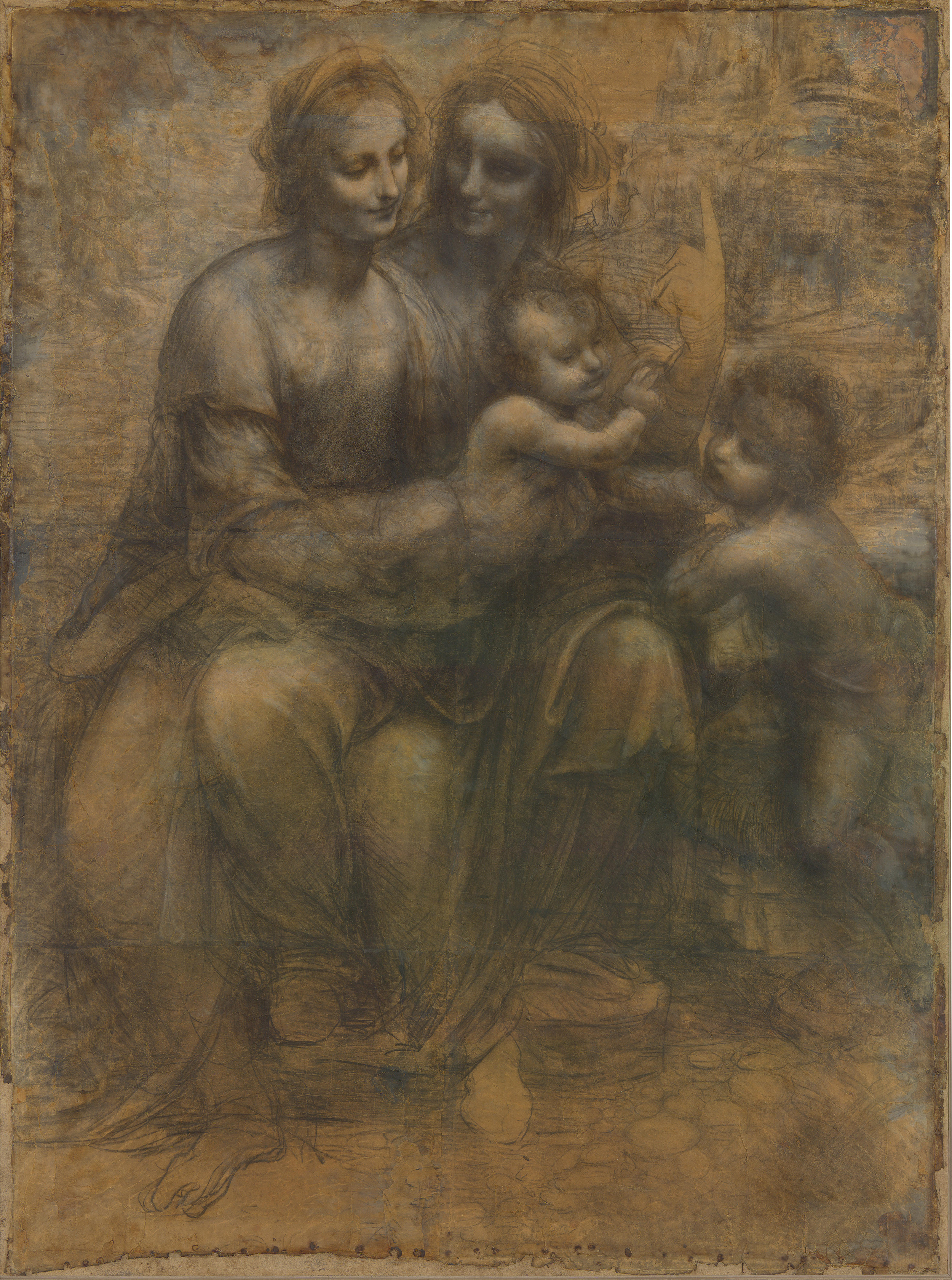 The Virgin and Child with St Anne and St John the Baptist, Leonardo DaVinci c. 1499–1500 or c. 1506–8