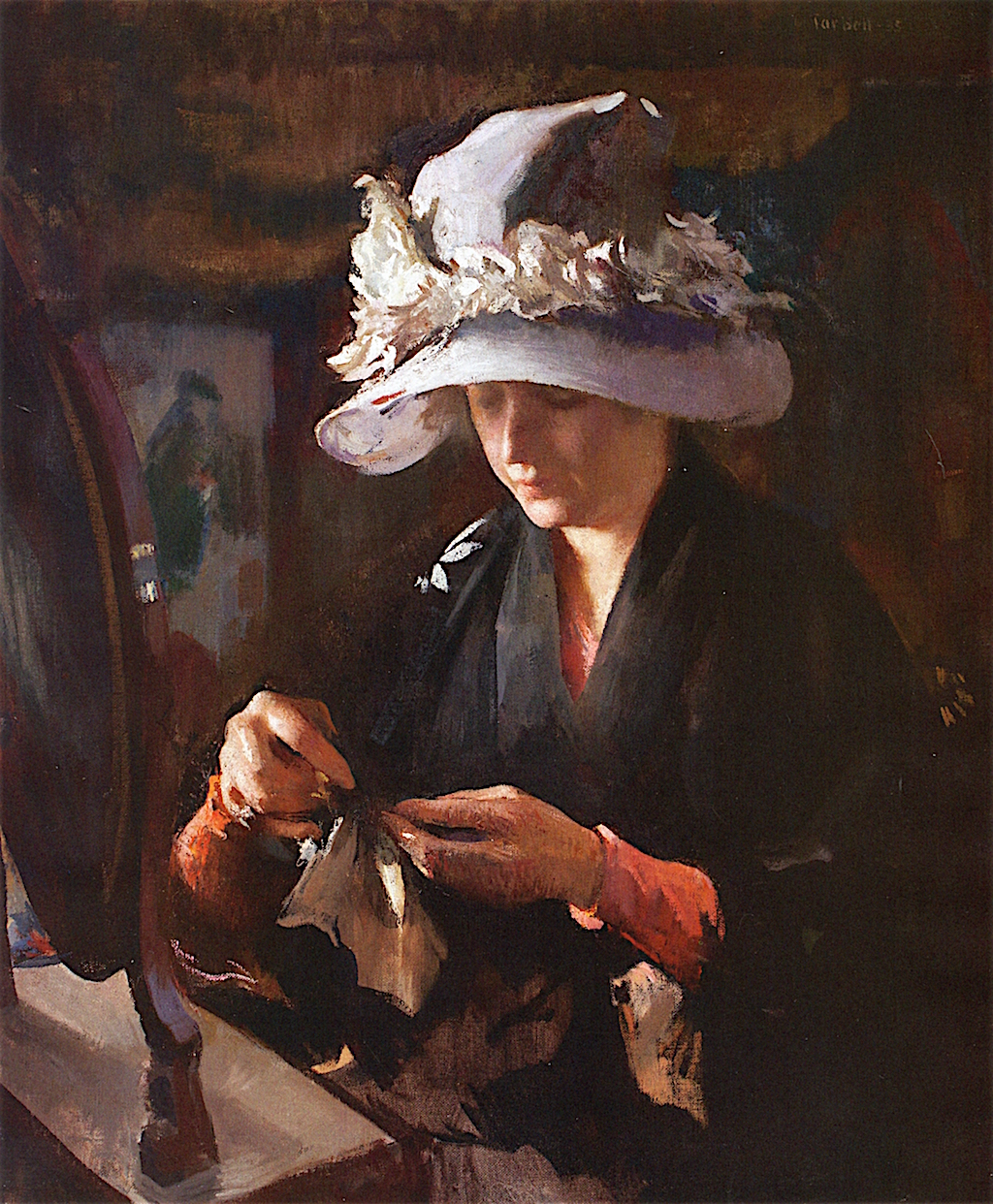 Edmund Tarbell, Woman Mending a Glove, 1935