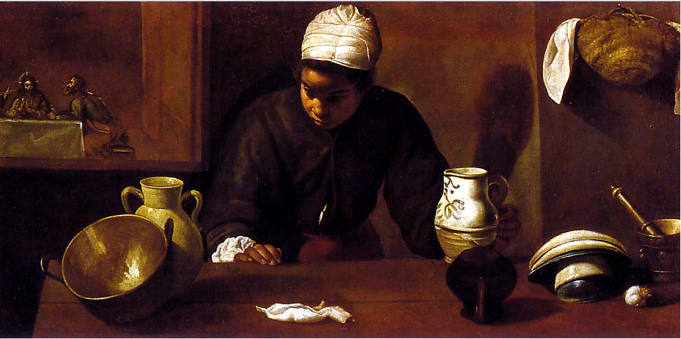 Velazquez, Kitchen Maid with the Supper at Emmaus, 1618-22