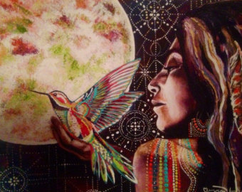 Image Credit:  Humming Bird Owl Feather Full Moon Goddess by Isabel Bryna