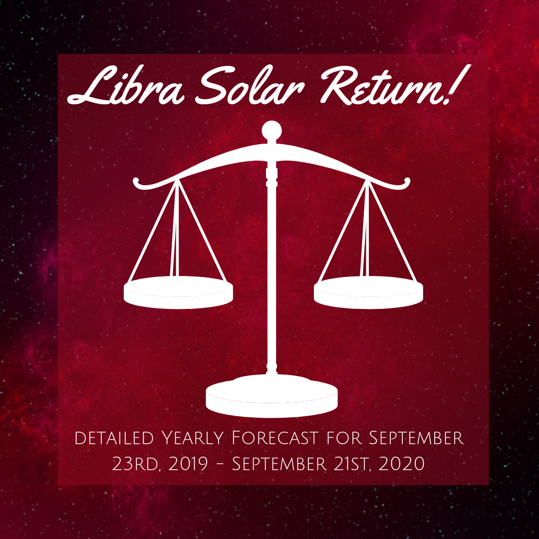 Calling all Libra Sun Signs! Your Solar Return Yearly Forecast Video is AVAILABLE NOW    ! Follow this link to order yours today!    In this 2 hour forecast with supplemental materials, you'll get a detailed overview of the most important planetary influences impacting your personal solar year ahead! Specific indications are included for each birth date to help you to get as much detail as you need to plan ahead! :)