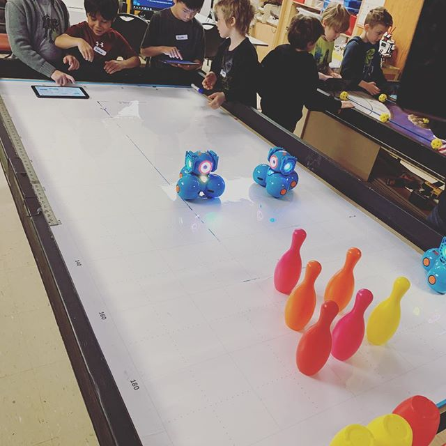 in our Junior Robotics class students are learning and bowling! #dash is 😎 cool!