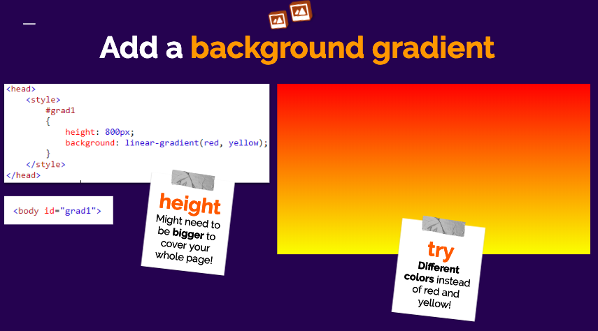 A quick peek from our slides, using CSS to add a cool gradient effect to our websites!