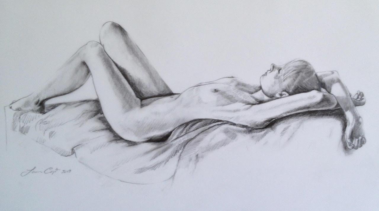 """Reclining Figure"" 12x18, graphite on Mylar."