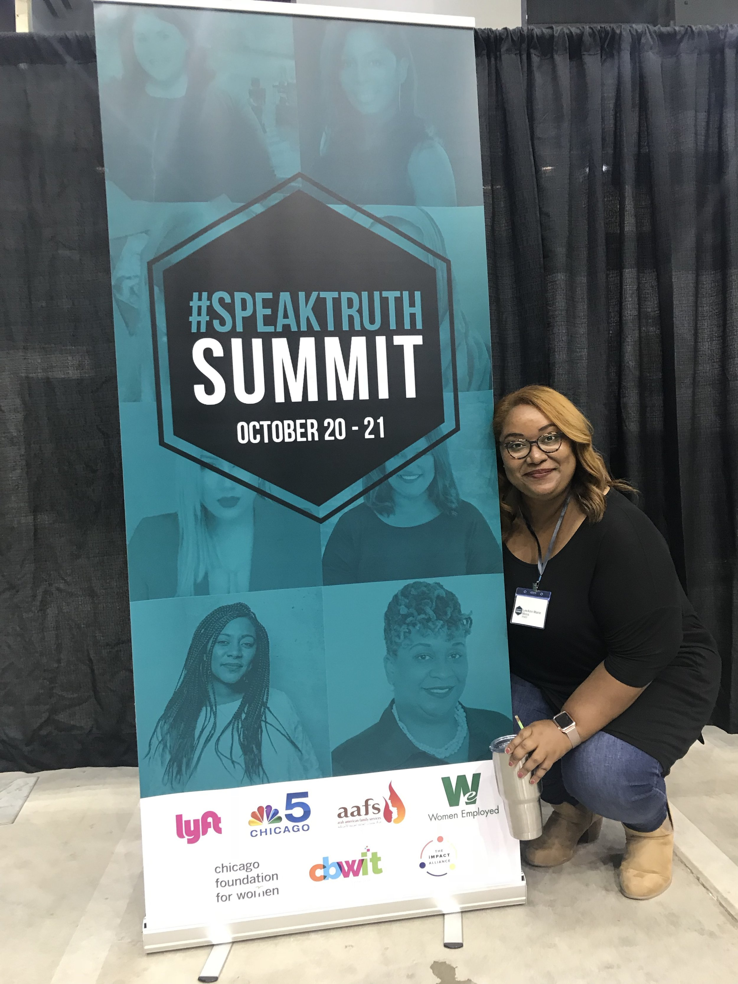 Had an incredible time back in Chicago speaking about purposeful living at the inaugural Speak Truth Summit. Also happy to get a photo with my photo on a banner!