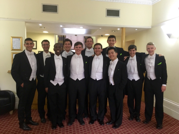 Posing after our short performance in the lobby of the Darlington Hyde Park hotel