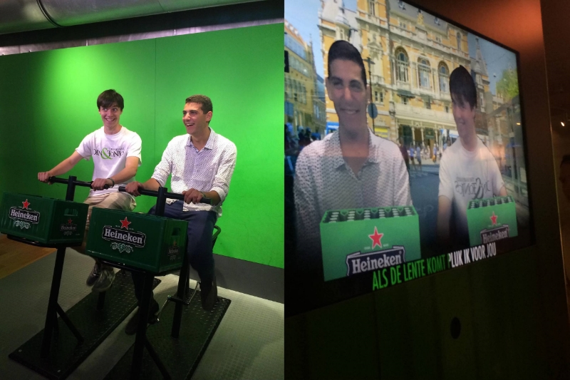 Jacques and Ethan having a mini karaoke session (in Dutch) at the Heineken Experience