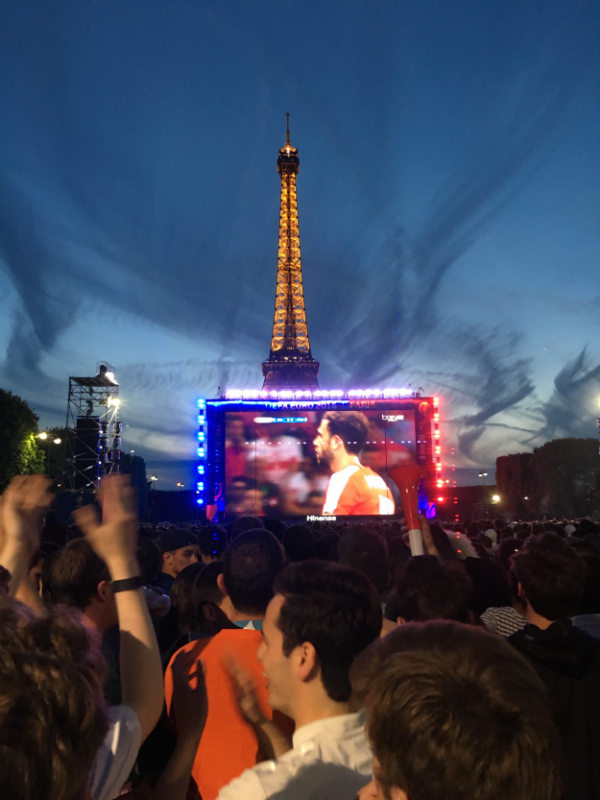Watching the Euro 2016 game between France and Switzerland in the Eiffel Tower Fan Zone